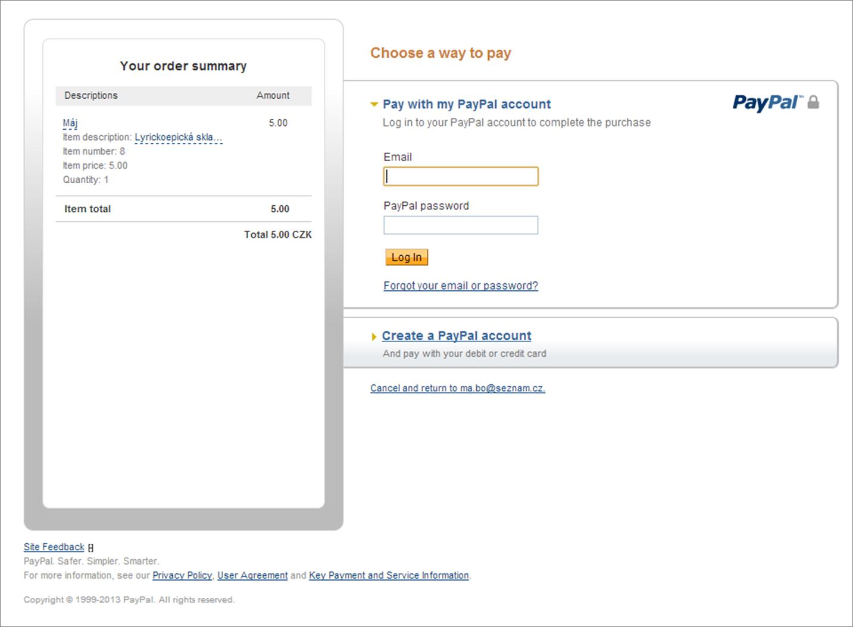 Zabezpečená platba PayPal